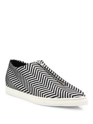 Stella Mccartney Sligo Zigzag Zip Front Sneakers Black White