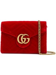 Gucci Gg Marmont Chain Wallet Red