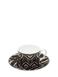 Roberto Cavalli Zebra Set Of 6 Tea Cup And Saucers