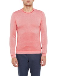 Ted Baker Millar Textured Wool Blend Crew Neck Jumper Coral