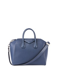 Antigona Medium Leather Satchel Bag Dark Blue Givenchy