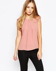 Y.A.S Melis Top With Lace Cap Sleeves Pink