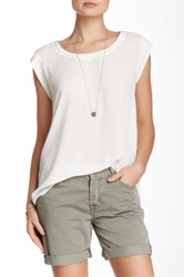Pleione Pleated Back Woven Tee White
