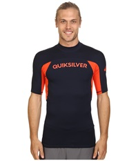 Quiksilver Performer Short Sleeve Rashguard Surf Tee Navy Blazer Mandarin Red Men's Swimwear
