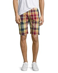 Jachs Ny Plaid Print Cotton Shorts Red