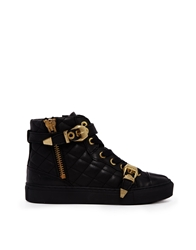 Bronx Black Leather High Top Trainers With Gold Buckles Blackgold