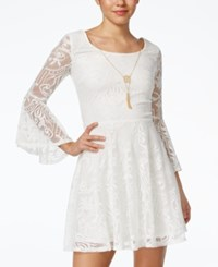 Amy Byer Bcx Juniors' Lace Bell Sleeve A Line Necklace Dress Ivory