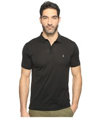John Varvatos Matte Sheen Soft Collar Peace Polo With Peace Sign Chest Embroidery K1381t1b Black Men's Clothing