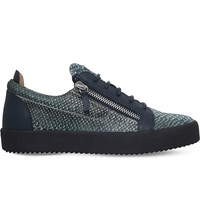 Giuseppe Zanotti Snake Print Leather Low Top Trainers Blk Green