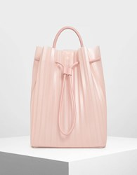 Charles And Keith Translucent Drawstring Backpack Pink