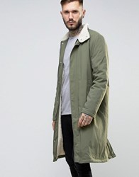 Asos Borg Lined Trench With Funnel Collar In Khaki Khaki Green