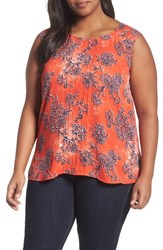 Sejour Plus Size Women's Pintuck Tank Red Fiery Floral Print