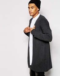 Asos Super Longline Cardigan With Ribs Charcoal