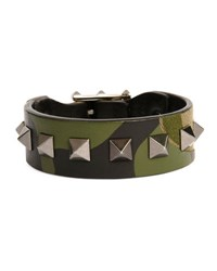 Valentino Garavani Men's Rockstud Camo Leather Bracelet Army Green