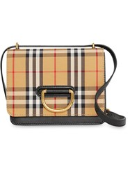 Burberry The Small Vintage Check And Leather D Ring Bag Yellow And Orange