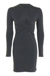 Topshop Petite Twist Front Crop Dress Charcoal
