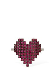 Apm Monaco Silver Pixel Red Heart Ring Array 0X57eea98