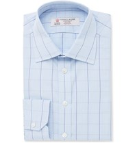 Turnbull And Asser Blue Slim Fit Prince Of Wales Checked Cotton Shirt Blue