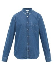 Acne Studios Isherwood Button Down Collar Cotton Chambray Shirt Blue