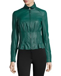 Escada Short Mock Neck Leather Jacket Women's