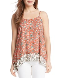 Karen Kane Tiered Paisley Print High Low Tank Pop