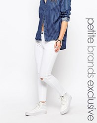 Noisy May Petite Lucy Slim Ankle Cut Busted Knee Jean White