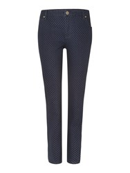 Dickins And Jones Flocked Buckingham Jean Navy