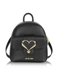 Love Moschino Eco Leather Backpack W Heart Buckle Black