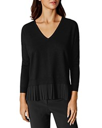Karen Millen Georgette Pleated Hem Sweater Black