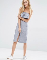Abercrombie And Fitch Button Front Stripe Midi Pencil Skirt Co Ord Light Blue Stripe