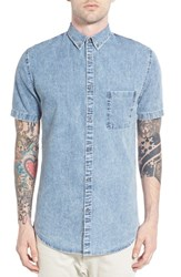 Men's Zanerobe 'Seven Ft' Longline Short Sleeve Print Woven Shirt Blue