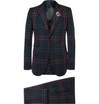 Gucci Blue Slim Fit Checked Wool Suit Navy