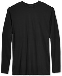 Alfani Men's Big And Tall Solid Long Sleeve Cotton Stretch T Shirt Deep Black