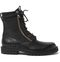 Dries Van Noten Pebble Grain Leather Boots Black