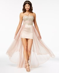 My Michelle Juniors' Strapless Embroidered High Low Dress A Macy's Exclusive Style Blush