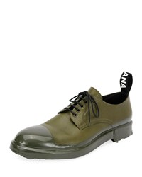 Dolce And Gabbana Leather Cap Toe Derby Shoe Green