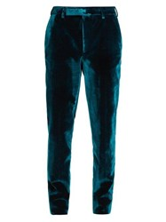 Saint Laurent Slim Leg Velvet Tuxedo Trousers Blue