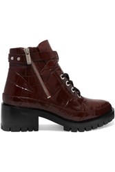 3.1 Phillip Lim Hayett Croc Effect Leather Ankle Boots Burgundy