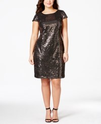 Adrianna Papell Plus Size Sequined Sheath Dress Black Gold