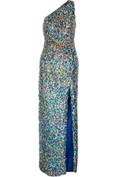 Moschino Metal Embellished Silk Crepe Gown Blue