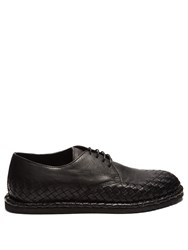Bottega Veneta Intrecciato Trimmed Leather Derby Shoes Black