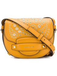Michael Michael Kors Cary Medium Grommeted Leather Saddle Bag Yellow And Orange