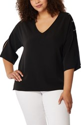 Rebel Wilson X Angels Plus Size Women's Pierced Split Sleeve Blouse Black