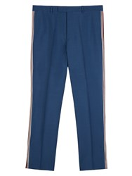 Valentino Straight Fit Wool Trousers Blue