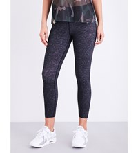 Monreal London Tribal Skinny High Rise Stretch Jersey Leggings Black Melange