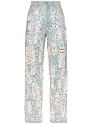 Ashish Sequin Embellished Ripped Boyfriend Jeans Metallic