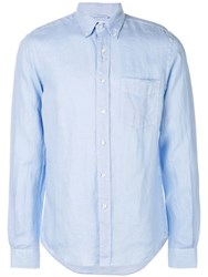 Aspesi Long Sleeve Fitted Shirt Blue