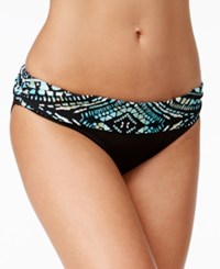Kenneth Cole Desert Romance Metallic Tribal Print Bikini Bottoms Women's Swimsuit Aquamarine