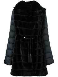 Liska Mink Fur Hooded Puffer Coat Black