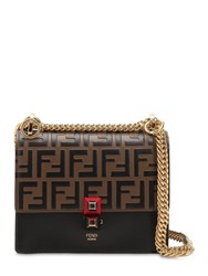 Fendi Small Kan I Logo Embossed Leather Bag Tobacco